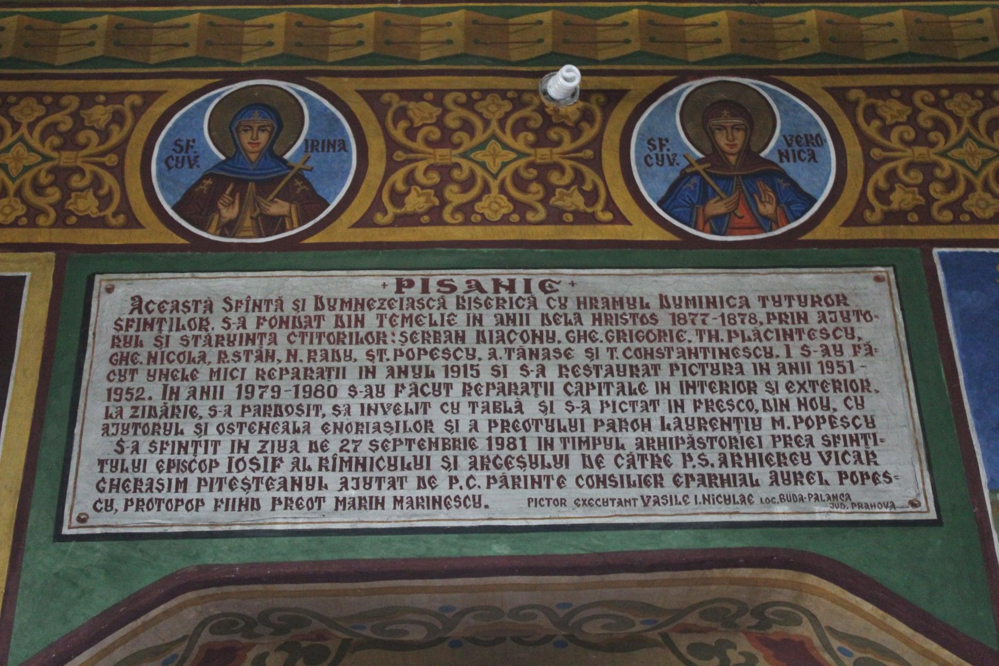 """Pisania Bisericii parohiale ,,Duminica Tuturor Sfinților"""" din satul Broșteni, oraș Costești"""